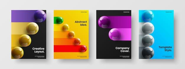 Collection de concept de couverture d'entreprise d'orbes réalistes brillants