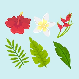 Collection de concept de fleurs et de feuilles tropicales