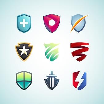 Collection de concept de logo de bouclier coloré