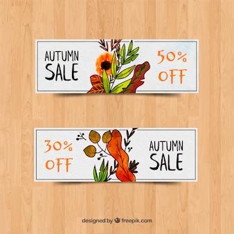 Collection de conception aquarelle de bannière de vente automne