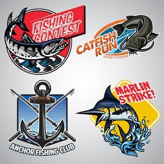 Collection de conception de badge de pêche en couleur