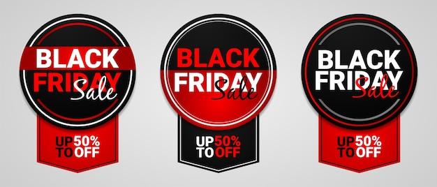 Collection de conception de bannière vendredi noir avec une forme de cercle
