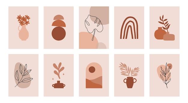 Collection de conception d'impression d'art contemporain boho abstrait moderne