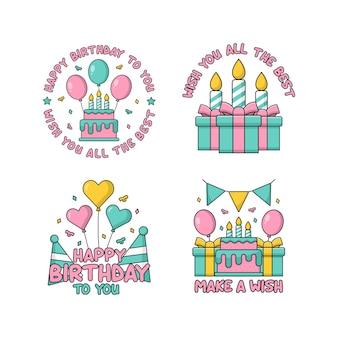 Collection de conception d'insigne de joyeux anniversaire