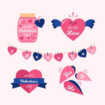 Collection de conception d'insigne mignon coeurs roses valentine