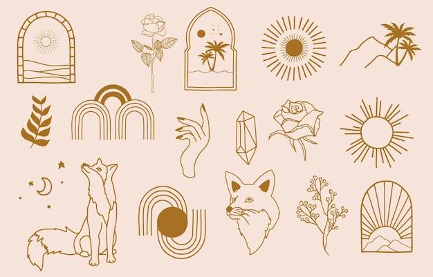 Collection de conception de ligne avec soleil, mer, vague. illustration vectorielle modifiable pour site web, autocollant, tatouage, icône