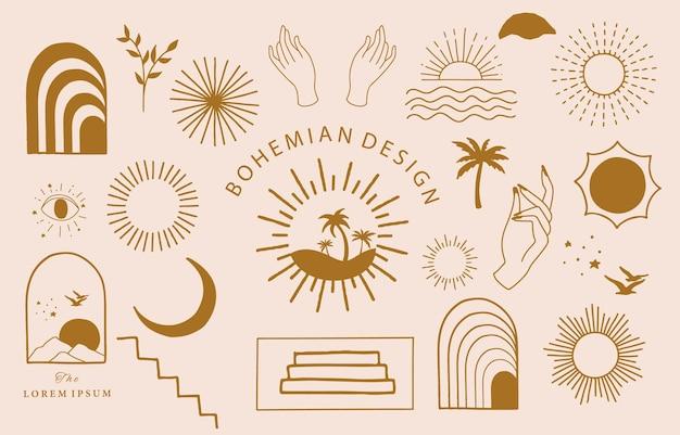 Collection de conception de ligne avec soleil, mer, vague.