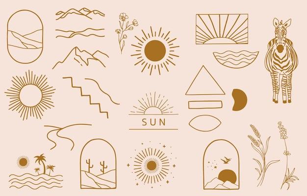Collection de conception de ligne avec soleil, montagne. illustration vectorielle modifiable pour site web, autocollant, tatouage, icône