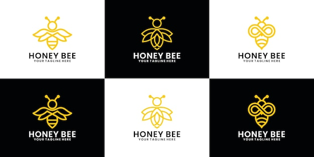 Collection de conception de logo d'animal d'abeille, abeille de miel avec le style d'art de ligne