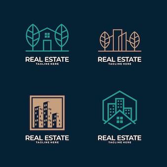 Collection de conception de logo d'art de ligne de bâtiment immobilier