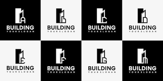 Collection de conception de logo de bâtiment alphabet vecteur premium.