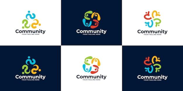 Collection de conception de logo de communauté de personnes ou de logo de clinique médicale