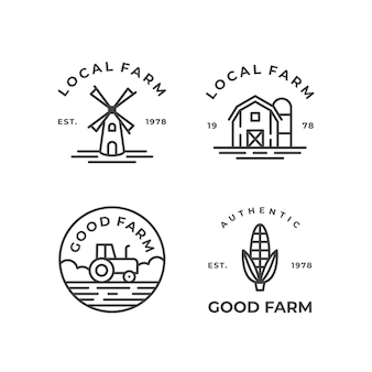 Collection de conception de logo de ferme monoline