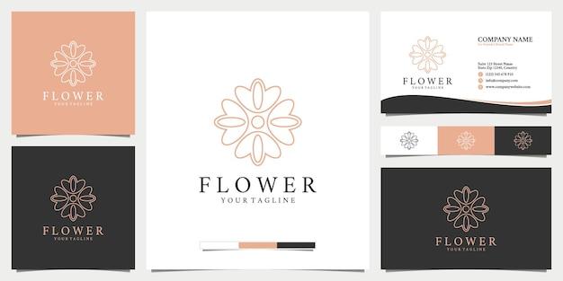 Collection de conception de logo de fleur abstraite dorée et carte de visite