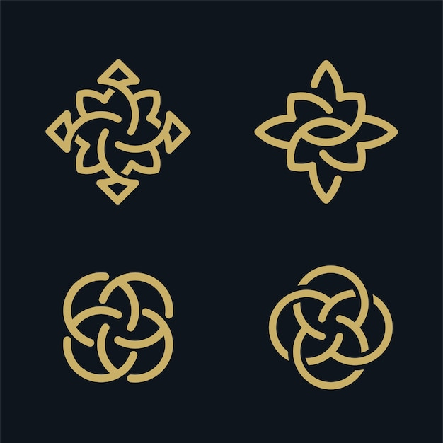 Collection de conception de logo de fleur dorée de luxe