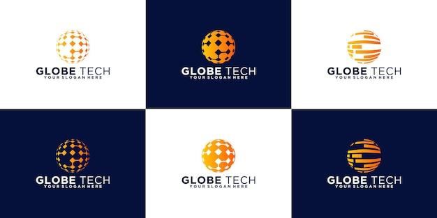 Collection de conception de logo de globe de technologie