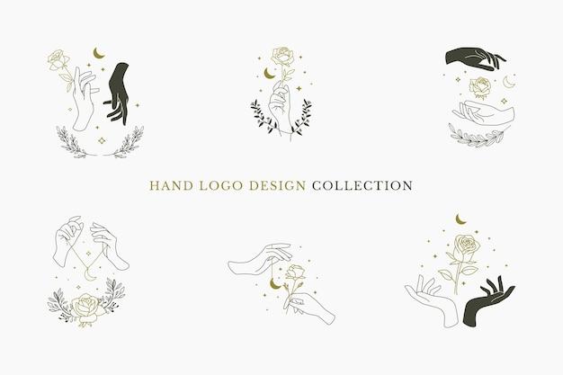 Collection de conception de logo à la main avec croissant de lune, fleurs roses et éléments floraux design minimaliste plat