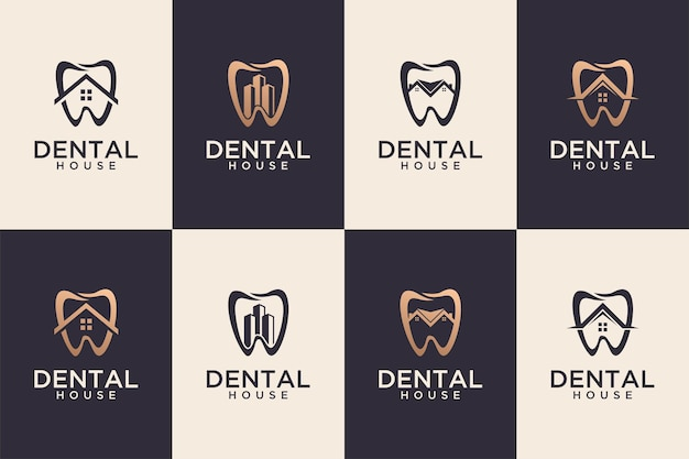Collection de conception de logo de maison dentaire