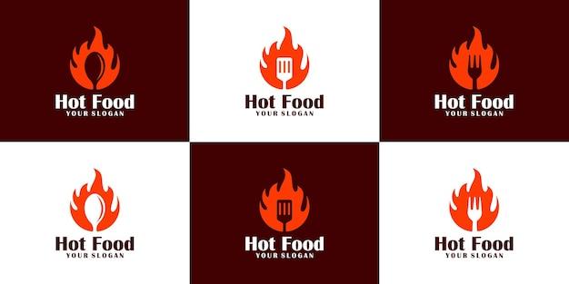 Collection de conception de logo de nourriture chaude