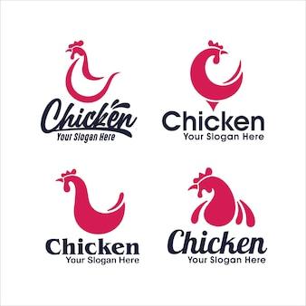 Collection de conception de modèle de logo de poulet
