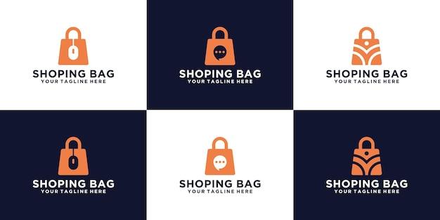 Collection De Conception De Modèle De Logo De Sac à Provisions En Ligne Vecteur Premium
