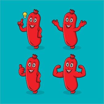 Collection de conception de personnage de dessin animé de saucisse