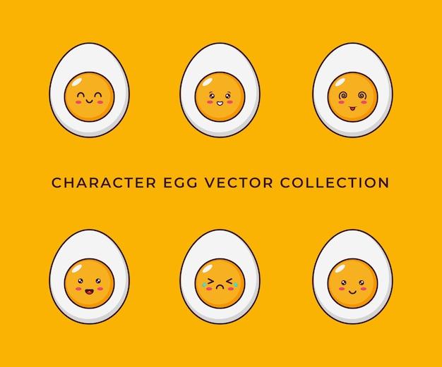 Collection de conception de personnages d'œufs au plat