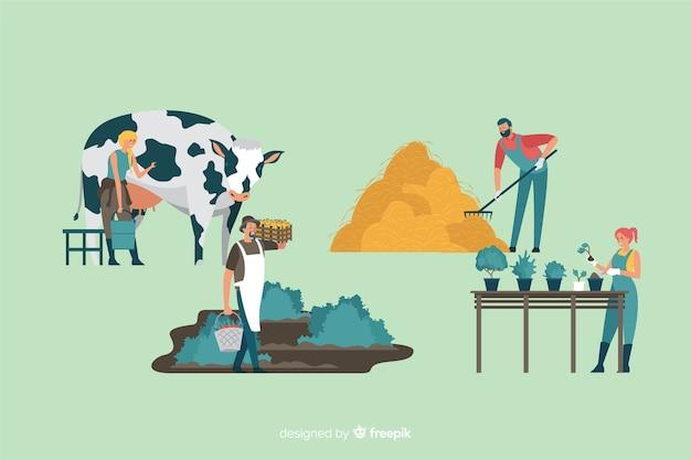 Collection de conception plate des travailleurs agricoles