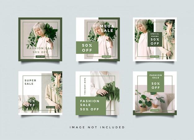 Collection de conception de quare de bannières de médias sociaux de mode verte