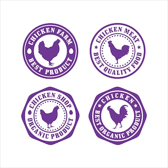 Collection de conception de timbres de magasin de poulet