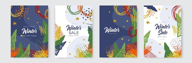 Collection de conceptions abstraites de fond de carte de contenu promotionnel de médias sociaux de vente d'hiver avec org ...