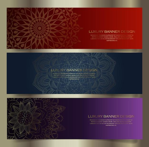 Collection de conceptions de bannières de mandala de luxe