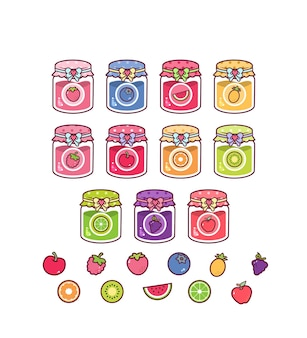 Collection de confitures mignonnes de fruits