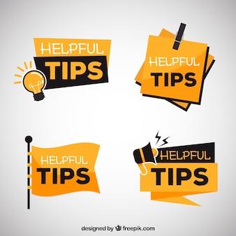 Collection de conseils utiles dans un style plat