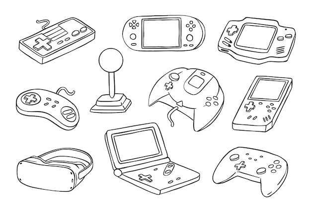 Collection de consoles de jeu doodle dessinés à la main