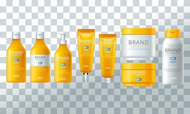 Collection de contenants de crème de protection solaire