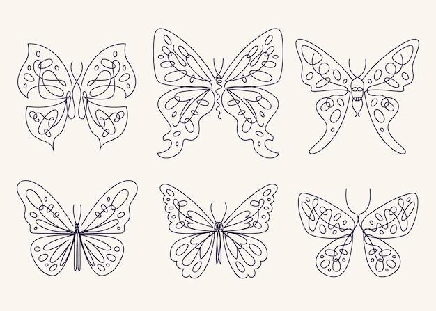 Collection de contours de papillons plats linéaires