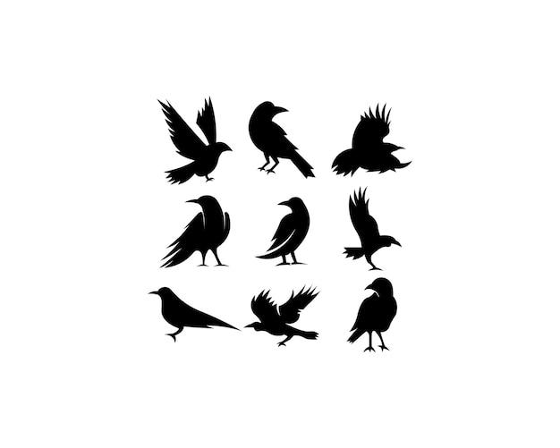 Collection de corbeaux silhouette noire