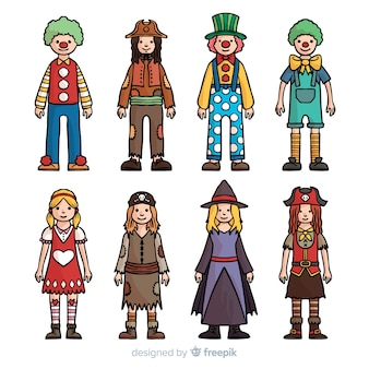 Collection de costumes de carnaval dessinés à la main
