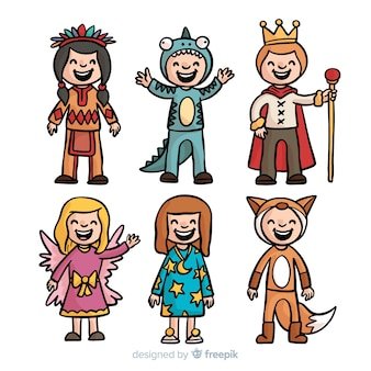 Collection de costumes de carnaval pour enfants dessinés à la main