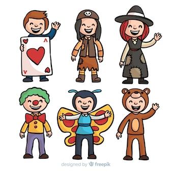 Collection de costumes de carnaval pour enfants dessinés à la main