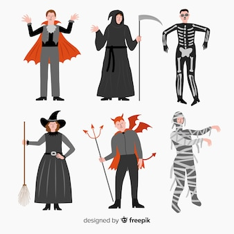 Collection de costumes halloween carnaval plat