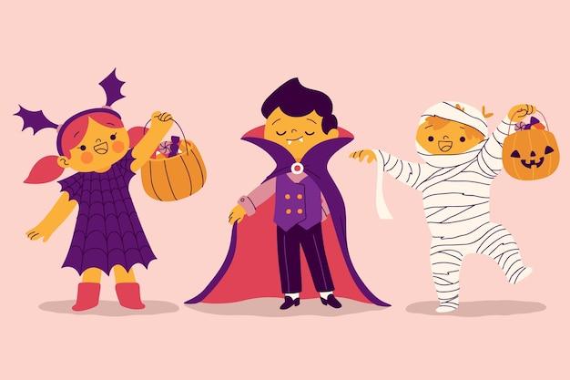 Collection de costumes d'halloween dessinés à la main