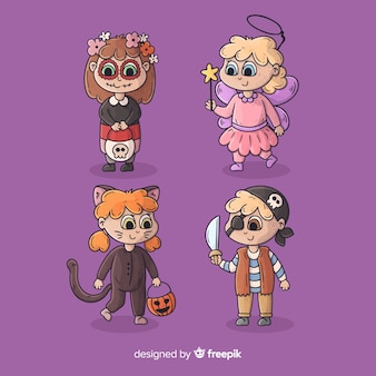 Collection de costumes d'halloween enfants mignons dessin animé