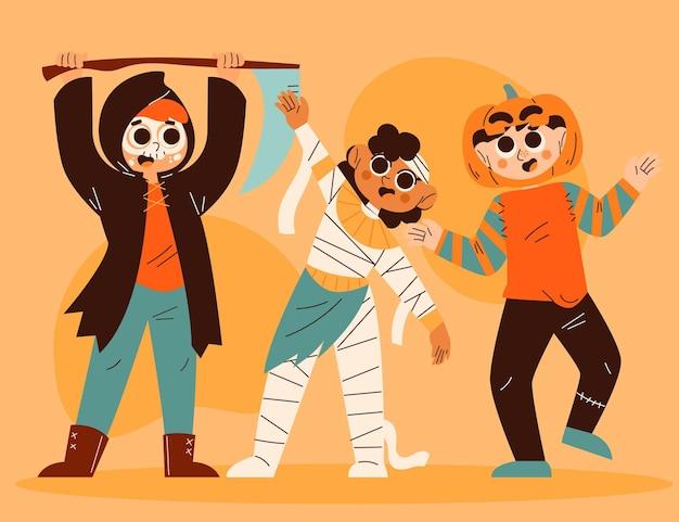 Collection de costumes d'halloween plats dessinés à la main