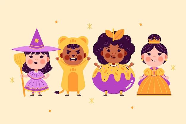 Collection de costumes d'halloween plats