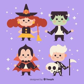 Collection de costumes pour enfants halloween plat