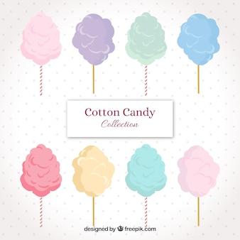 Collection de coton à bonbons à la main