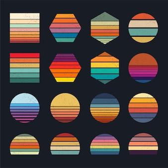 Collection de coucher de soleil rétro pour bannière ou impression retrowave de style années 80