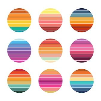 Collection de coucher de soleil rétro style années 80 cercles colorés à rayures